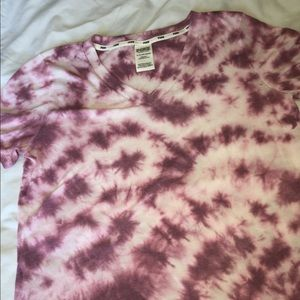 pink & white tie dye shirt from VS Pink:)